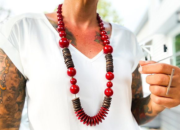 Necklace Long - Resin Red