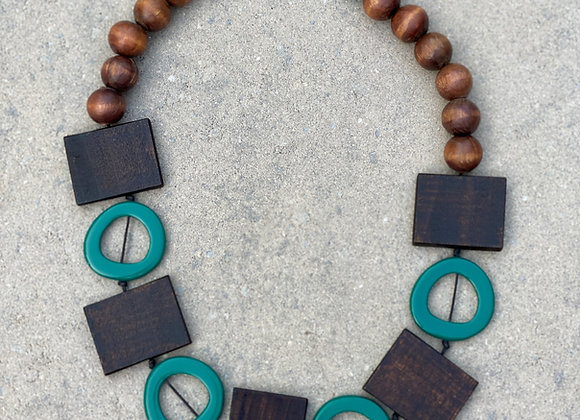 Necklace - Square/circles - Green