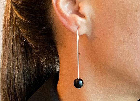 Earrings - Pendant w/ Black onyx Stone