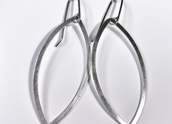 Pendant Earrings  - Silver open leaf