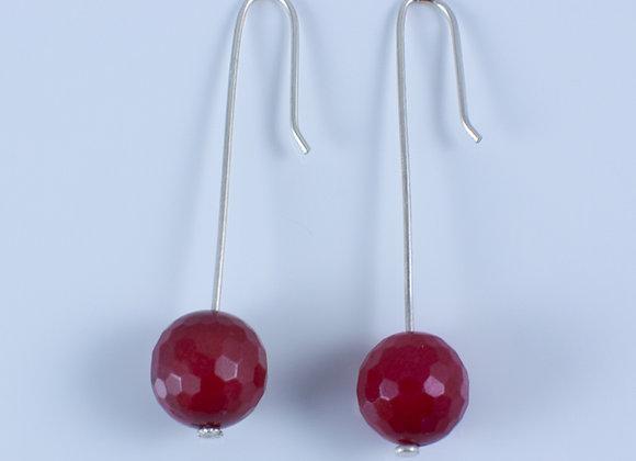 Earrings - Pendant w/ Red Stone