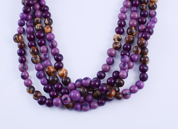 Acai Necklace - 4 strands, Purple & Natural