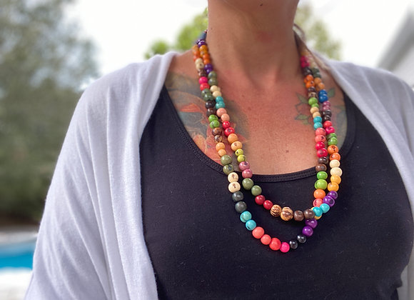 Acai Seed beaded  Long Necklace, Multi Colors