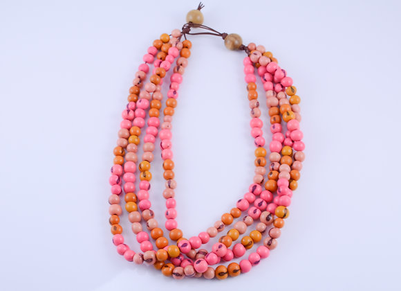 Acai Necklace - 4 strands, Pink & Orange