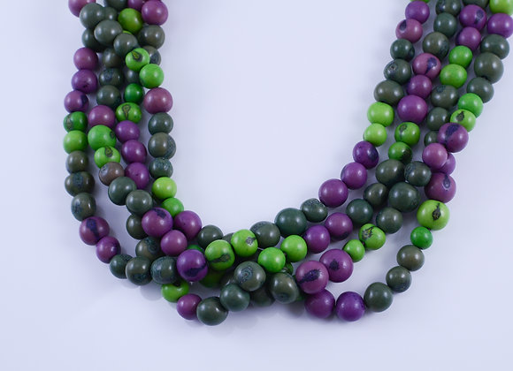 Acai Necklace - 4 strands, Green & Purple