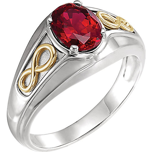 14K White & Yellow Chatham® Created Ruby Infinity-Style Men's Ring