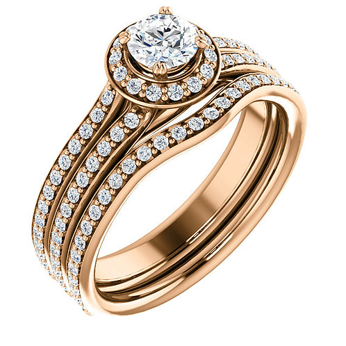 14K Rose Gold 4.4mm Round Halo Engagement Ring Mounting
