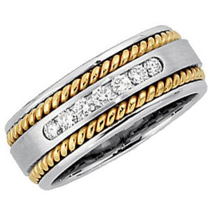 14K White & Yellow Ladies 1/4 CTW Diamond Rope Design Band Size 7