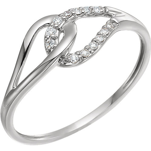 14K White .08 CTW Diamond Ring