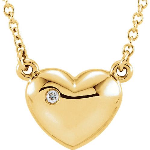 "14K Yellow .01 CTW Diamond Heart 16.5"" Necklace"