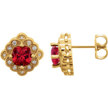 14K Yellow Chatham® Created Ruby & 1/10 CTW Diamond Earrings