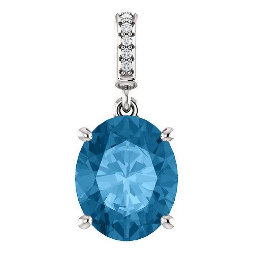 14K White 11x9mm Swiss Blue Topaz & Diamond Necklace