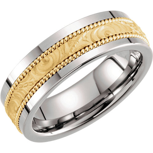 Tungsten & 14K Yellow Gold 8mm Patterned Milgrain Band