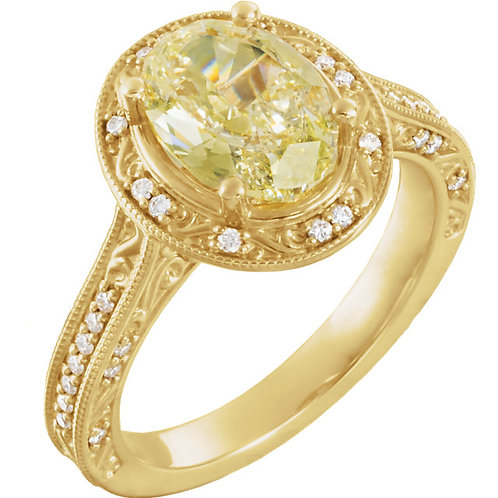 14K Yellow Gold 2 3/8 CTW Yellow and White Diamond Engagement Ring