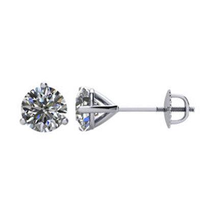 Platinum 1CTW Diamond Threaded Post Stud Earrings