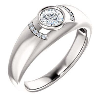14K White 1/2 CTW Diamond Men's Bezel Ring
