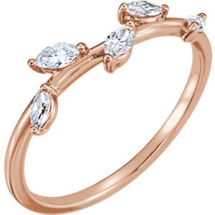14K Rose 1/3 CTW Diamond Leaf Ring
