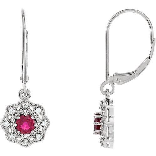14K White Ruby & 1/8 CTW Diamond Halo-Style Earrings
