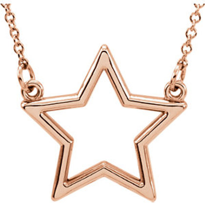 14K Rose Gold Star 16' Necklace