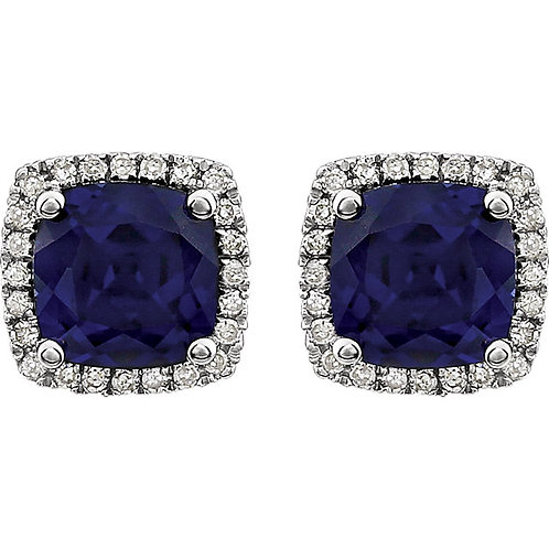 14K White Created Blue Sapphire & 1/8 CTW Diamond Earrings