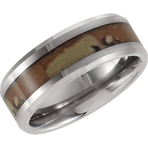 Tungsten 8.3mm Beveled Band with Desert Camo Inlay
