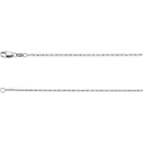 """14K White 1mm Raso 16"""" Chain"""