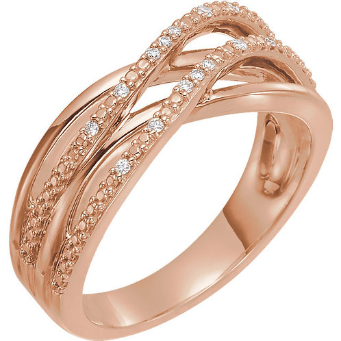 14K Rose .06 CTW Diamond Criss Cross Ring