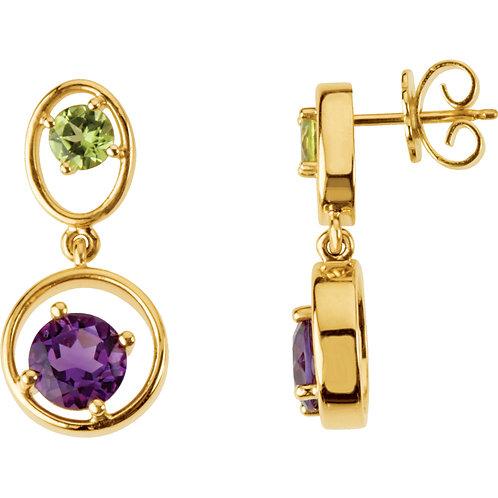Peridot & Amethyst Earrings
