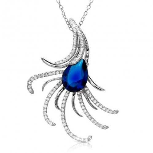 Sterling Silver Rhodium Plated Swirl CZ Necklace with Blue Pearl CZ - BGP01173
