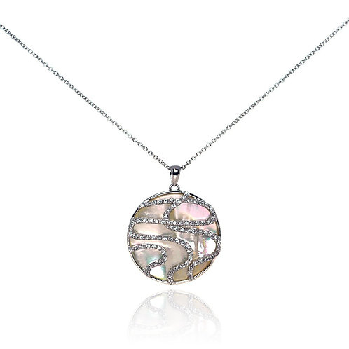 Sterling Silver Clear CZ Mother Pearl Rhodium Plated Round Pendant Necklace