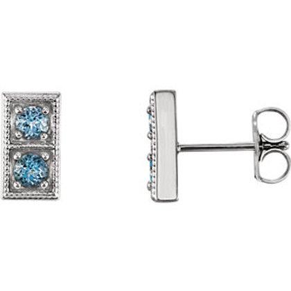 14K White Aquamarine Two-Stone Earrings