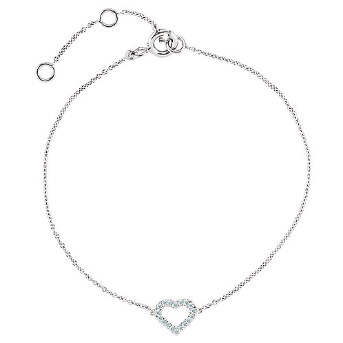 "14K White .06 CTW Diamond Heart 7"" Bracelet"