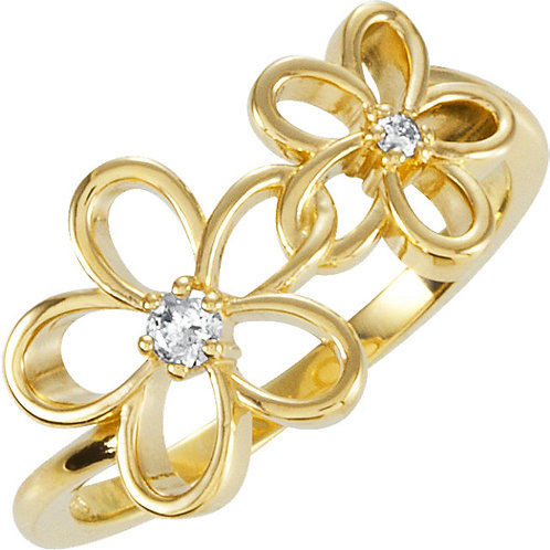 14K Yellow  .07 CTW Diamond Floral-Inspired Ring