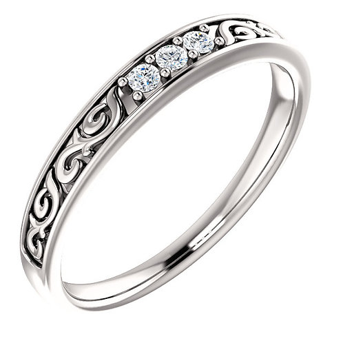14K White Gold 1/10 CTW Diamond Men's Ring