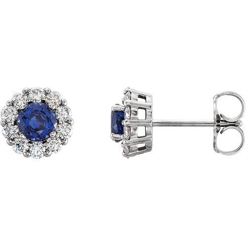 14K White Chatham® Created Blue Sapphire & 3/8 CTW Diamond Halo-Style Earrings