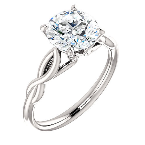 14K White Gold 8mm Round Moissanite Engagement Ring