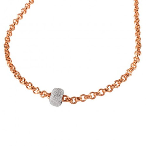 Sterling Silver Rose Gold Plated Rolo Chain Necklace with Micro Pave CZ Round