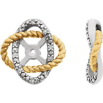 14K White & Yellow .07 CTW Diamond Earring Jackets