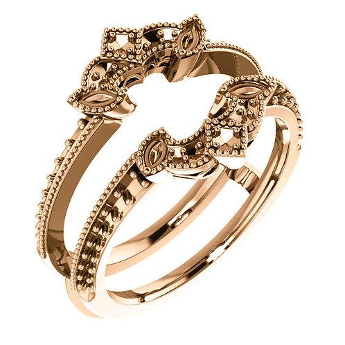 14K Rose Gold Art Deco Milgrain Ring Guard Mounting