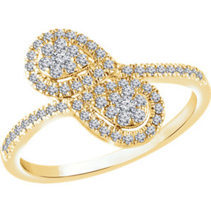 14K Yellow 3/8 CTW Diamond Double Pear Cluster Ring