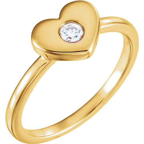 14K Yellow .03 CTW Diamond Heart Ring