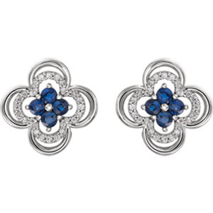 14K White Gold Blue Sapphire & 1/5 CTW Diamond Clover Earrings