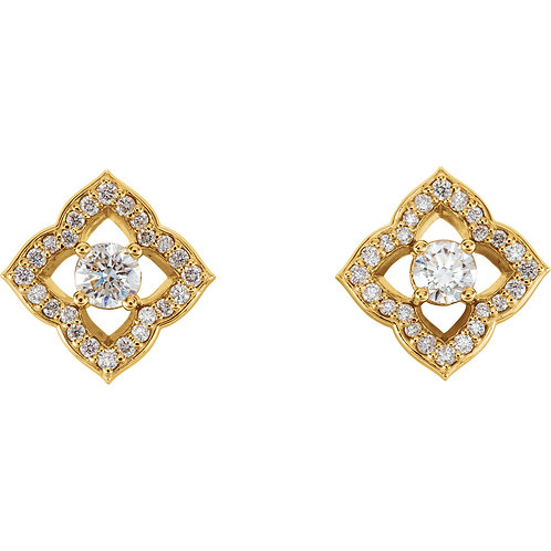 14K Yellow Gold 3/4 CTW Diamond Halo-Style Clover Earrings