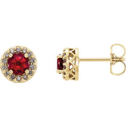 14K Yellow Chatham® Created Ruby & .08 CTW Diamond Earrings