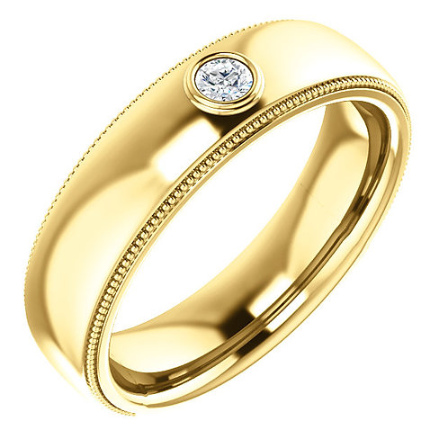 14K Yellow 1/10 CTW Men's Diamond Ring