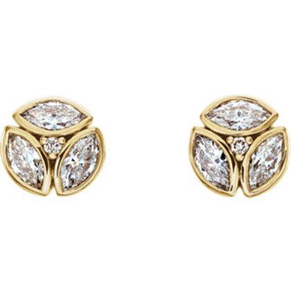14K Yellow Gold 1/2 CTW Diamond Cluster Earrings