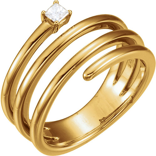 14K Yellow 1/10 CTW Diamond Freeform Ring