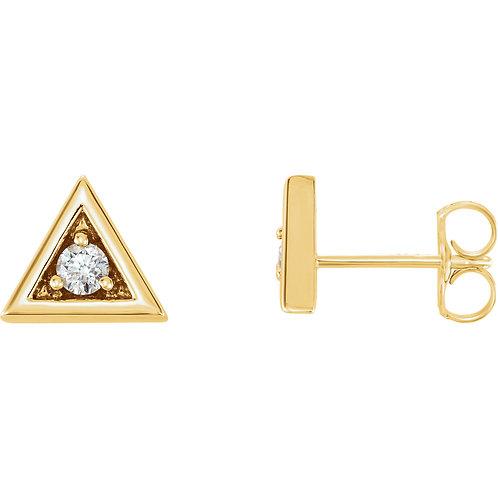 14K Yellow 1/8 CTW Diamond Triangle Earrings