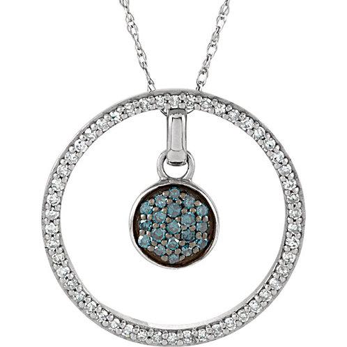 "14K White 1/3 CTW Blue & White Diamond 3-in-1 Circle 18"" Necklace"