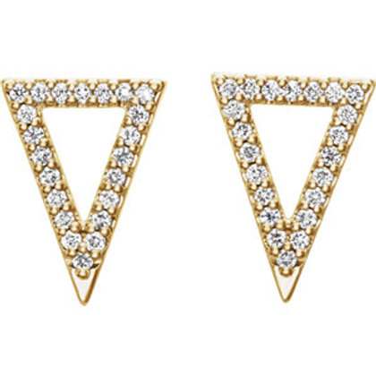 14K Yellow Gold 1/5 CTW Diamond Triangle Earrings